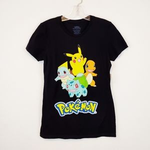 Pokemon Graphic Black Large Tee New